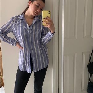 Blue and white striped linen button-down shirt